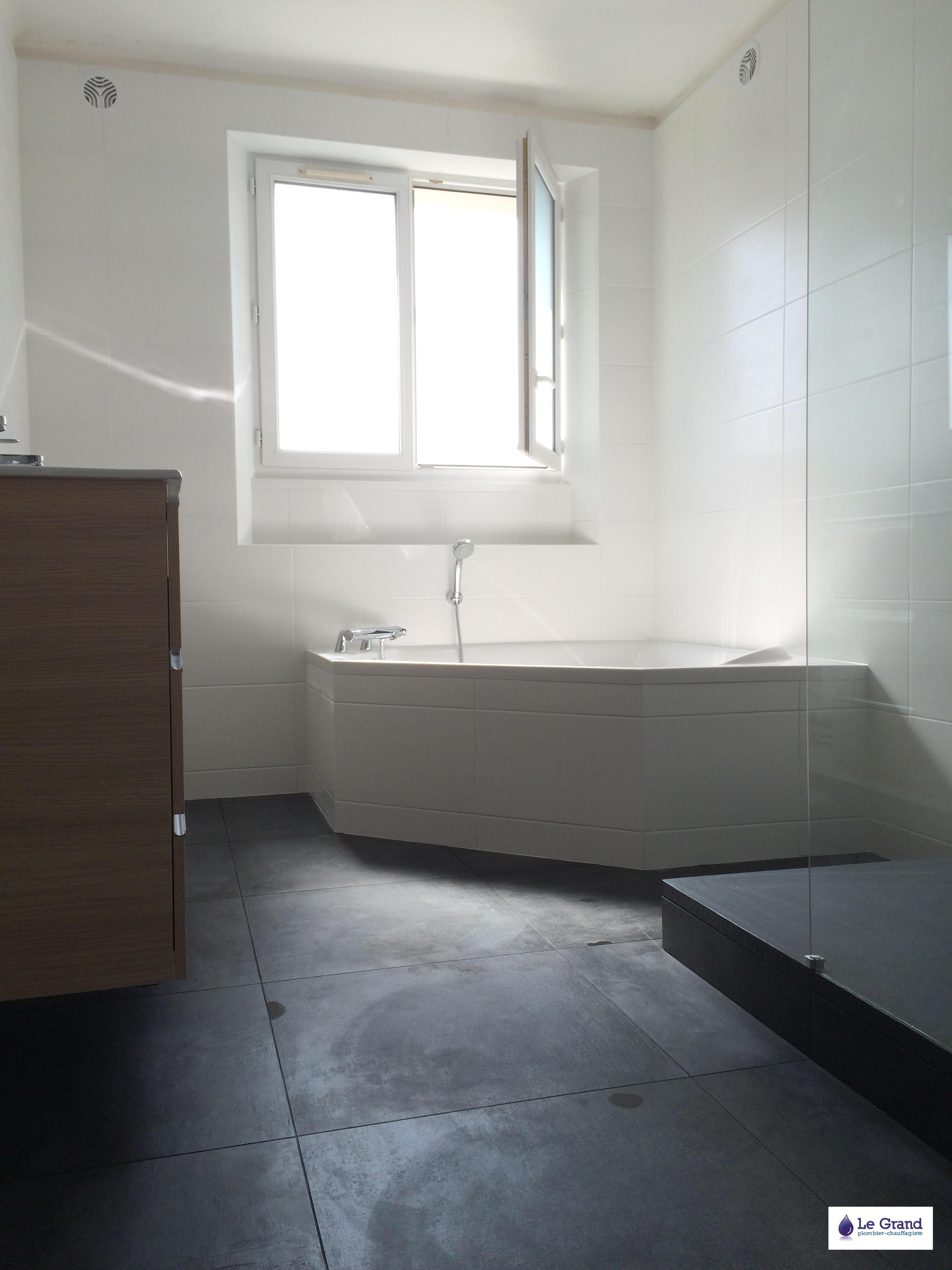 Agencement salle de bain avec douche et baignoire for Plan de salle de bain douche et baignoire