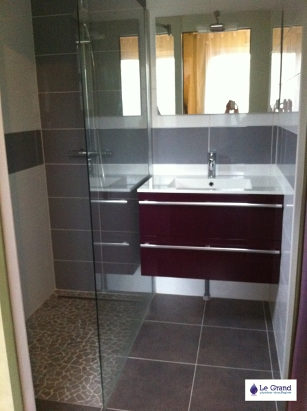 Galerie photo le grand plombier chauffagiste rennes for Salle de bain douche italienne double vasque